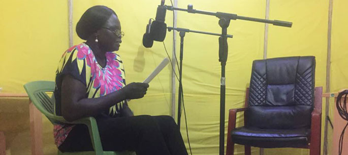 Esther Liberato, actress, records readings of the selected South Sudan National Archives documents for the Tarikh Tana radio show airing on 1 November 2017 on Eye Radio at 16:00 EAT.