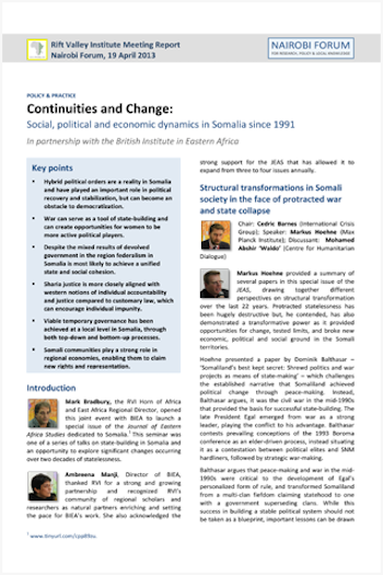Continuity and change in Somalia