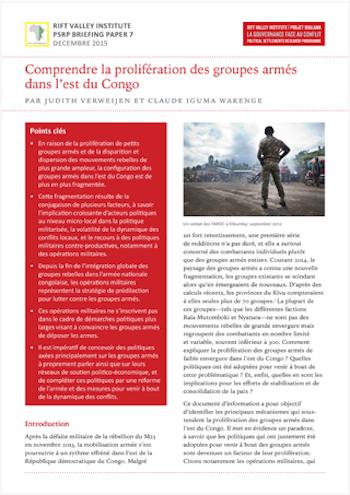Comprendre la prolifération des groupes armés dans l'est du Congo