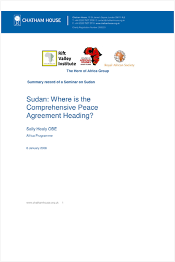 Sudan Where Is The Comprehensive Peace Agreement Heading Rift