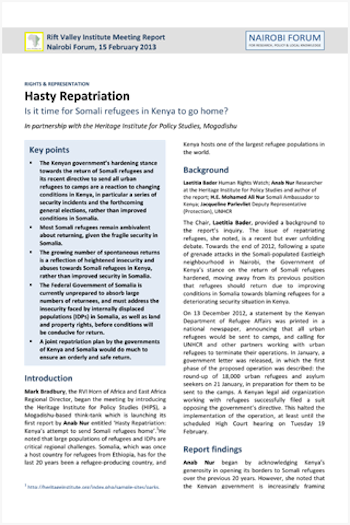 Hasty repatriation