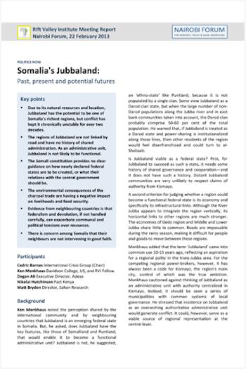 Somalia's Jubbaland | Rift Valley Institute