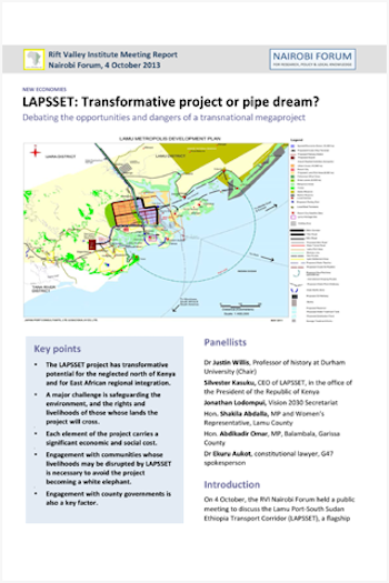 LAPSSET: A Transformative Project or a Pipe Dream?