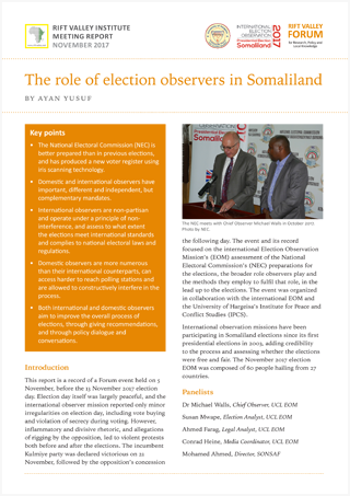 The role of election observers in Somaliland
