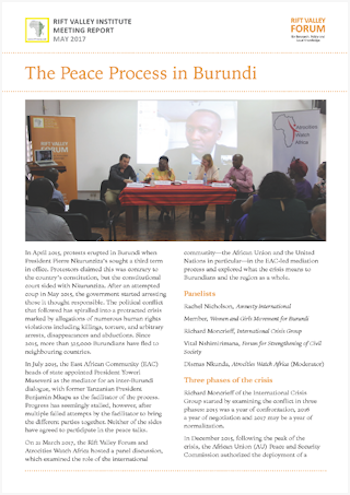 The Peace Process in Burundi