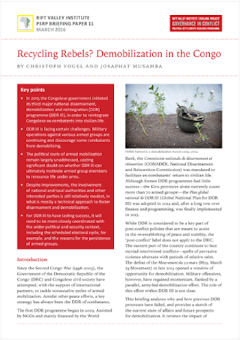 Recycling Rebels? Demobilization in the Congo