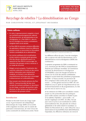 Recyclage de rebelles ? La démobilisation au Congo