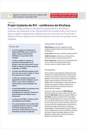 Projet Usalama du RVI : conférence de Kinshasa