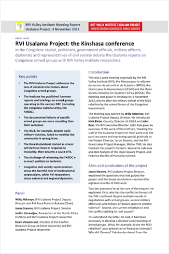 RVI Usalama Project: the Kinshasa conference