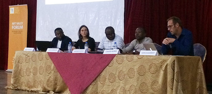 From left to right: Emery Mudinga, Judith Verweijen, Godefroid Muzalia, Claude Iguma and Koen Vlassenroot