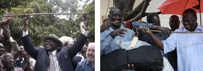Left: Riek Machar and Douglas H. Johnson during the dang's welcome ceremony in Juba, 16 May 2009 (Sudan Tribune). Right: SAF Major General Mabior Bol, Gabriel Tang-ginya and Vice-President Riek Machar join in holding the dang during reconciliation talks between militia leaders and the SPLM, 17 October 2010 (Matt Brown).