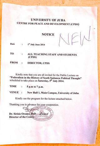 A debate on federalism at Juba University | Rift Valley Institute