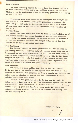 Appeal to the Anya Nya (An archive document from 1967)