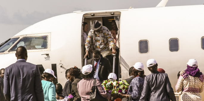 First Vice President Designate Riek Machar arrives in Juba, 19 April 2016, UNMISS.